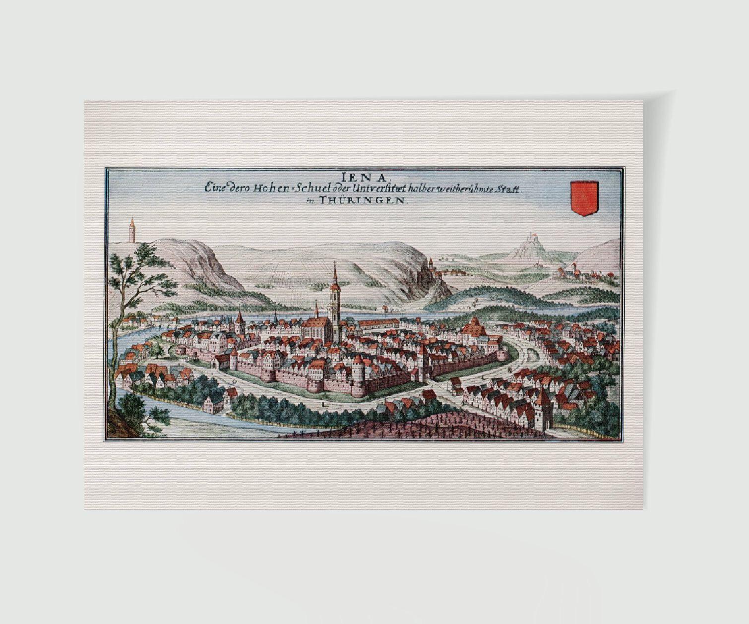 Jena Stadtansicht Stadtbild mit Wappen - Historienbilder