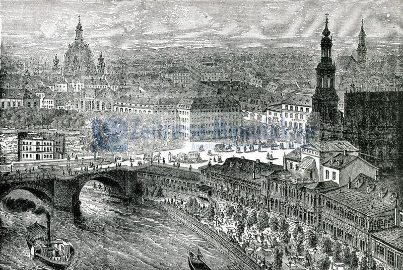 Dresden Stadtansicht Blick vom Elbufer