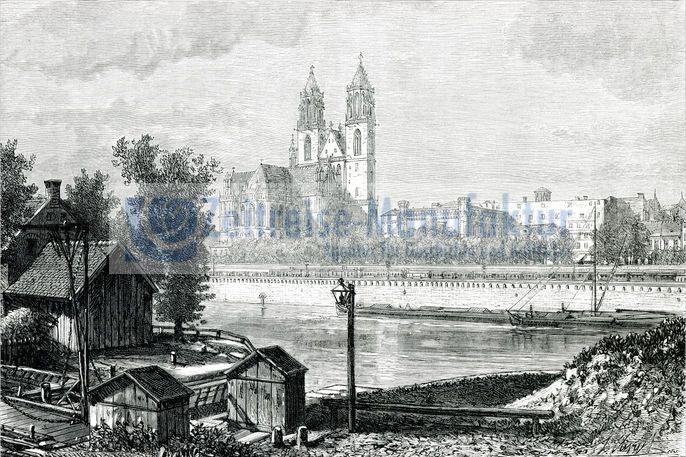 Magdeburg Dom Stadtansicht von Osten