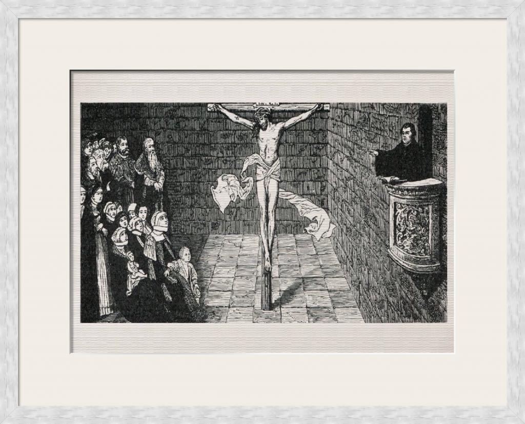Martin Luther Wittenberg Luther auf der Kanzel - Historienbilder